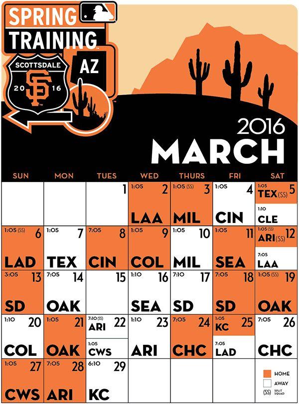 San Francisco Giants ~ 2016 Spring Training Schedule.