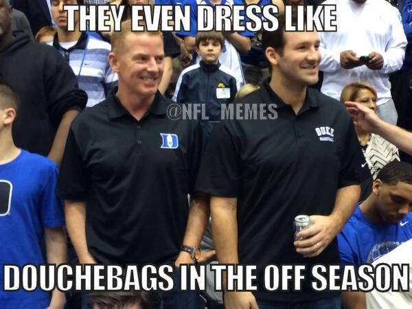 Tony Romo and Jason Garrett are at the North Carolina/Duke game