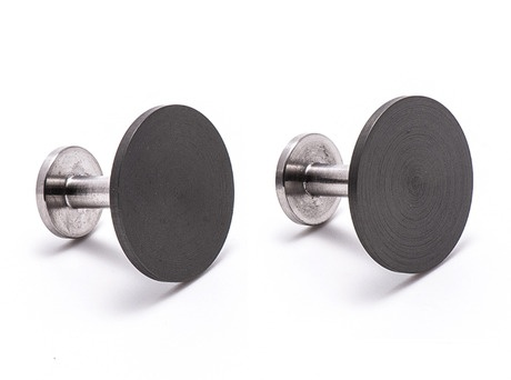 'Location cufflinks' by Phoebe Porter  Stainless steel, anodised aluminium  Available in store and online  http://egetal.com.au/store/product/PMP356