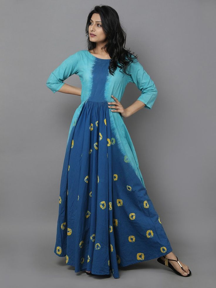 Blue Yellow Tie and Dye Cotton Dress
