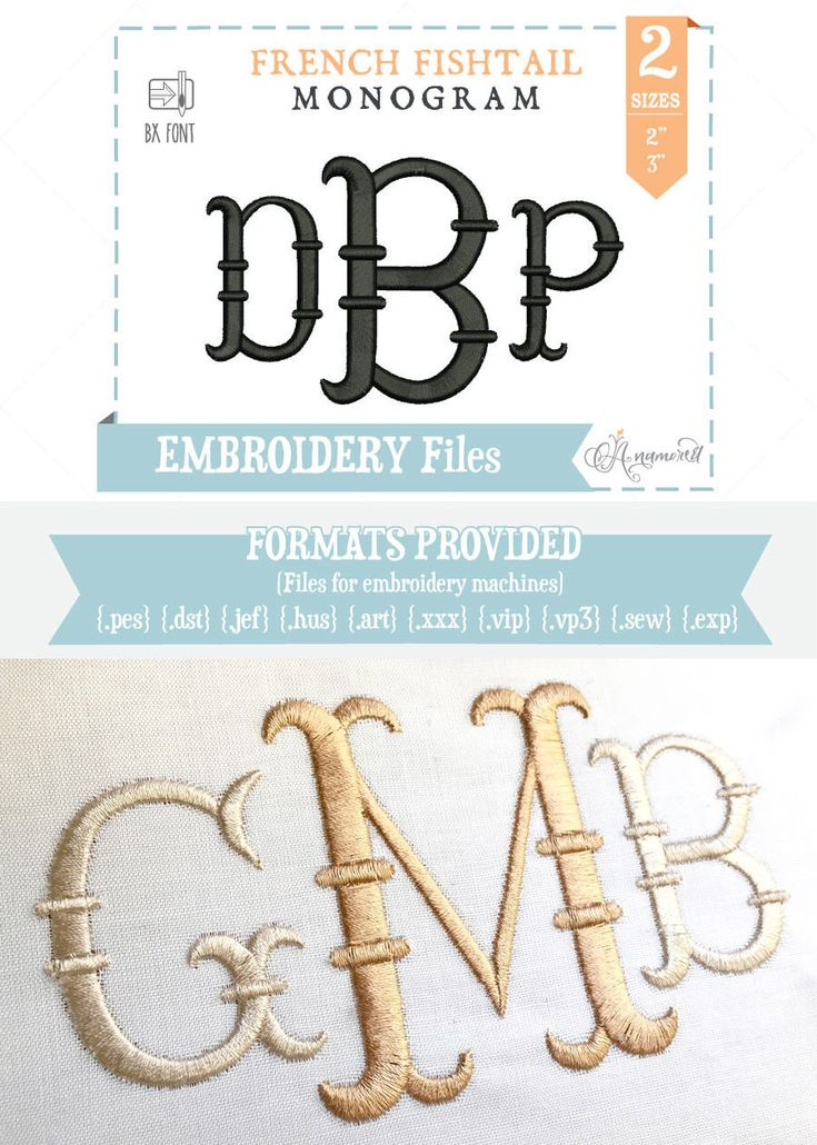 2 & 3 inch- French Fishtail Embroidery Font/Alphabet for Machines | Instant Digital Download | Fishtail Alphabet by Anamored on Etsy https://www.etsy.com/listing/188528010/2-3-inch-french-fishtail-embroidery