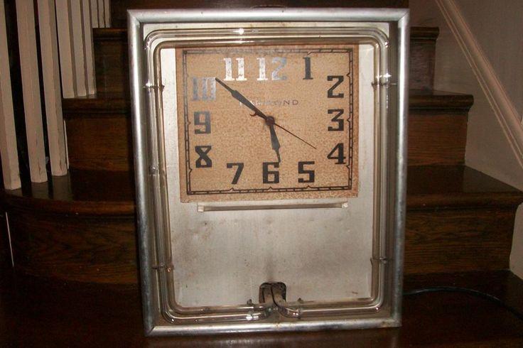 Hammond Neon Advertising Clock Neon clock, Clock, Ebay
