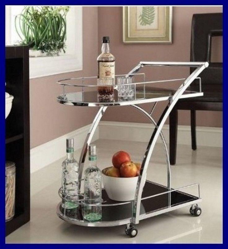 Bar Serving Cart Beverage Wine Holder Rolling Storage Tray Trolley Drink Kitchen