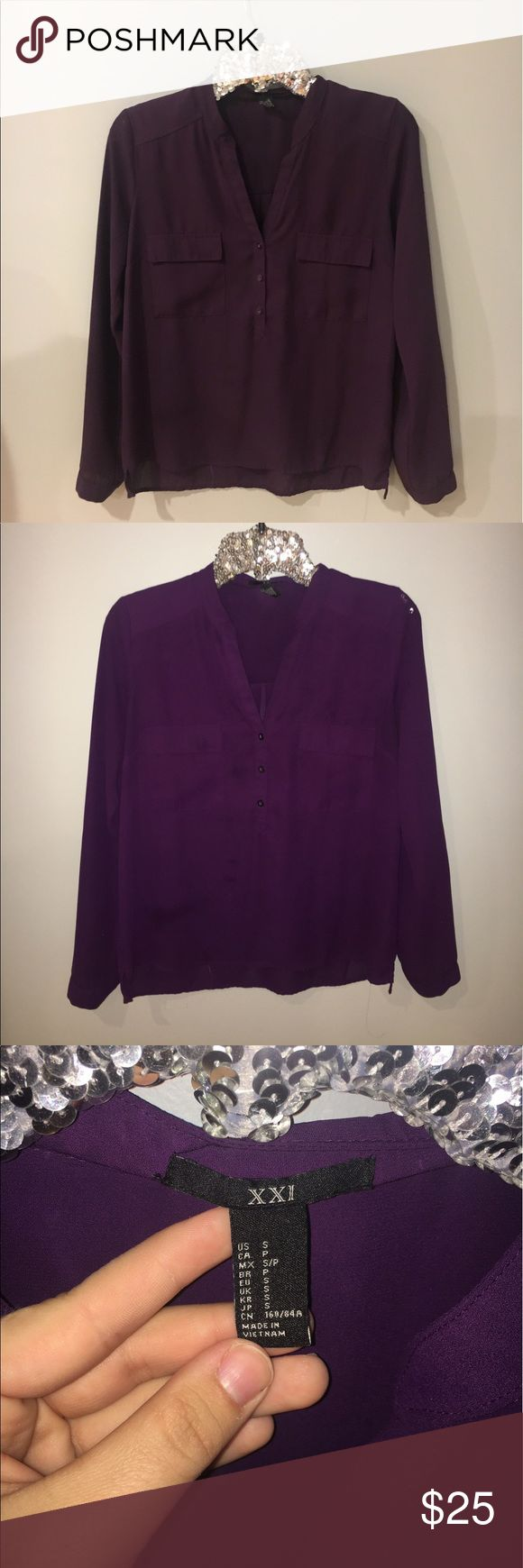 Purple Women's Blouse 👚 Woman's purple blouse for sale❤️ If only I was a size small! The fit is comfy with a professional look😍 Please message me if you have any questions! Forever 21 Tops Blouses