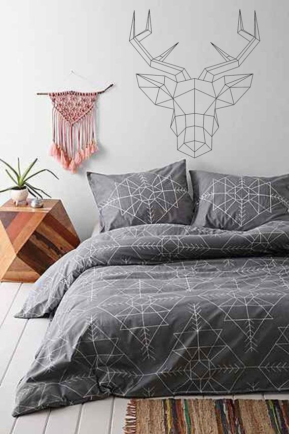 Geometric Deer Head with antlers wallsticker decal - Origami design decals…