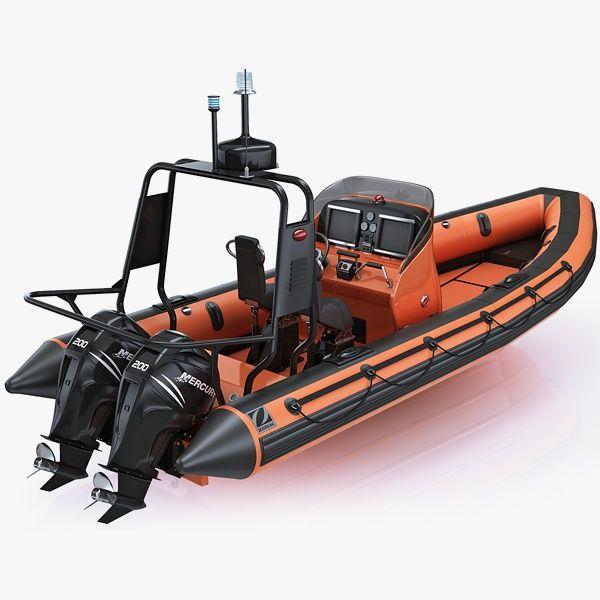 Inflatable Lifeboat Zodiac RIB Hurricane And Engine Mercury Verado ...