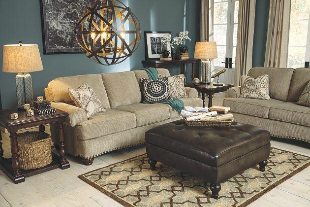 Sofa, Loveseat and Brown Leather Ottoman Set - $1450 - Ashley Furniture - Sisal Alma Bay Sofa