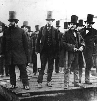 L-R: John Scott Russell, Henry Wakefield, Isambard Kingdom Brunel at the launching of the SS Great Eastern. English.