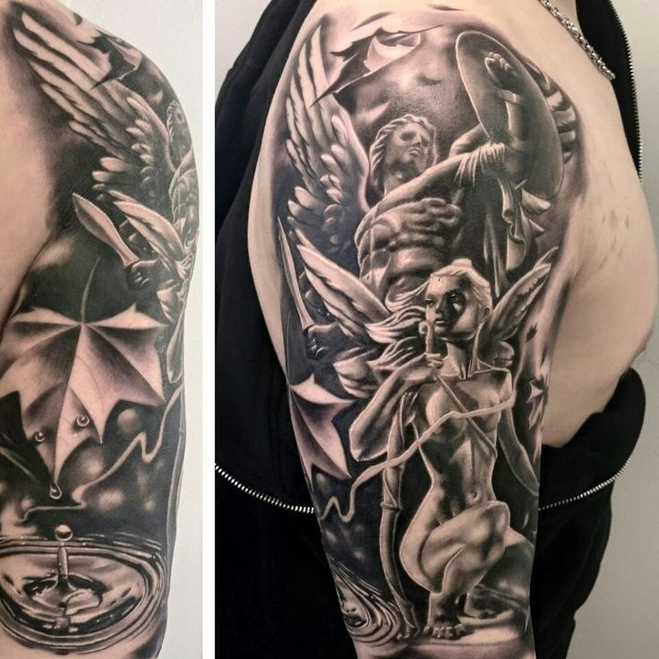 1000 images about saint michael on pinterest warrior for Guardian angel half sleeve tattoos