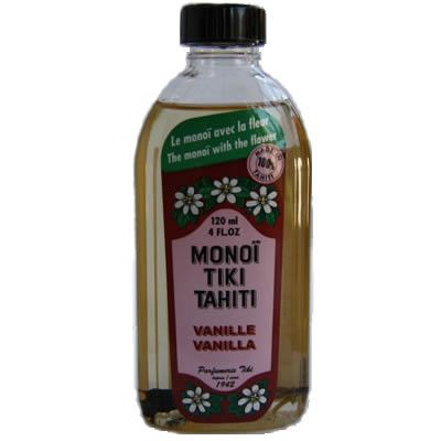 Monoi Tiki Vanille Naturel - gorgeous, silky Tahitian coconut oil with the sweet scent of vanilla. Great for skin and hair!