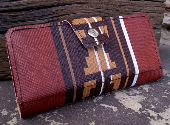 Navajo Southwestern Womens Upcycled Wallet- Made of '76 Jeep Cherokee Auto Vinyl - $58