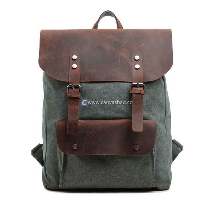 Leather Canvas Backpack Canvas Laptop Bag