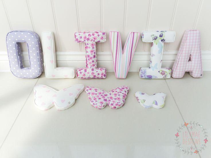 144 Olivia O - Nancy Lavender, L - Pink Love Hearts, I - Ditsy Rose Heather, V - Ella Stripe Heather, I - Butterfly Gardens Lavender, A - Baby Pink Gingha,