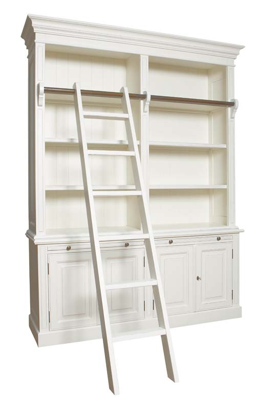 Especially like the fact that this book shelf has a built-in ladder!    Furniture Online & Decorating Accessories | Portland Library, Antique White | Interiors Online Furniture