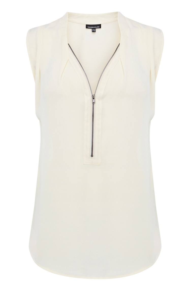 Tops | Neutral EXTENDED SHOULDER ZIP BLOUSE | Warehouse