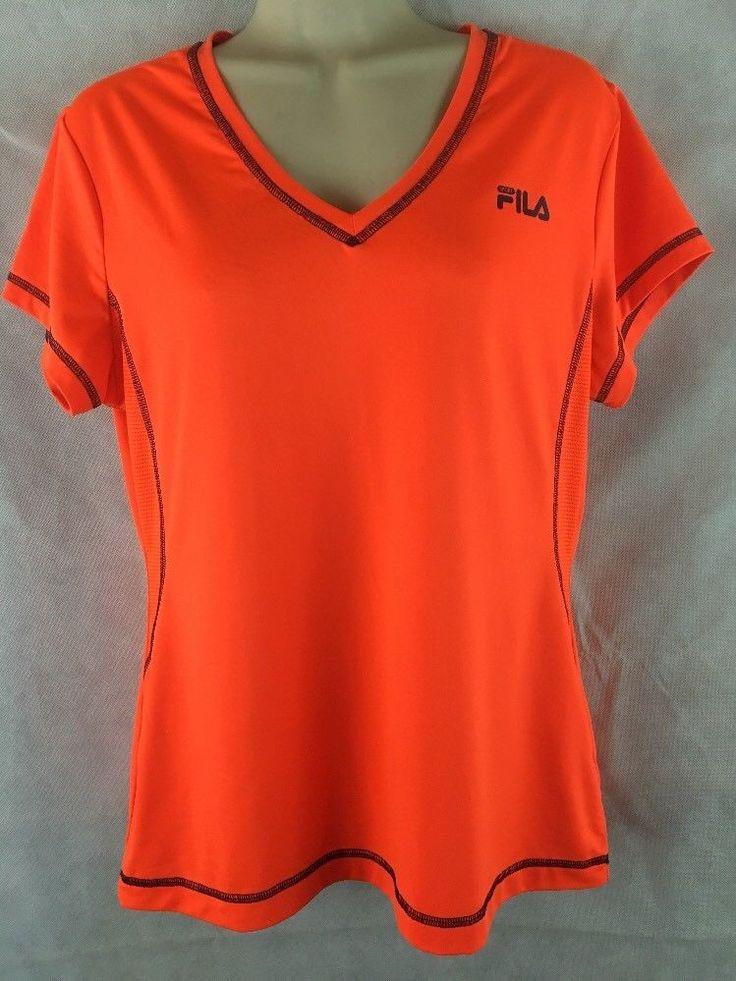 Fila Sport Running T-Shirt Women's Size L Top Bright Orange Mesh Side Athletic #FilaSport #ShirtsTops