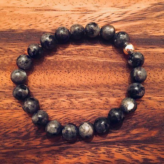 Labradorite Beaded Bracelet / Semiprecious Gemstones / Bead