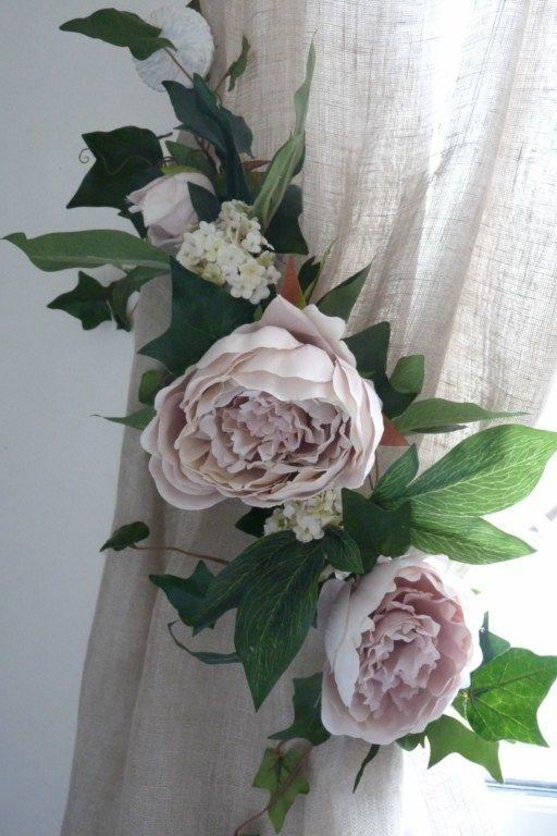 Embrasse rideau Florale Pivoines Anciennes Nouvelle Collection / Jolies Embrasses de rideaux