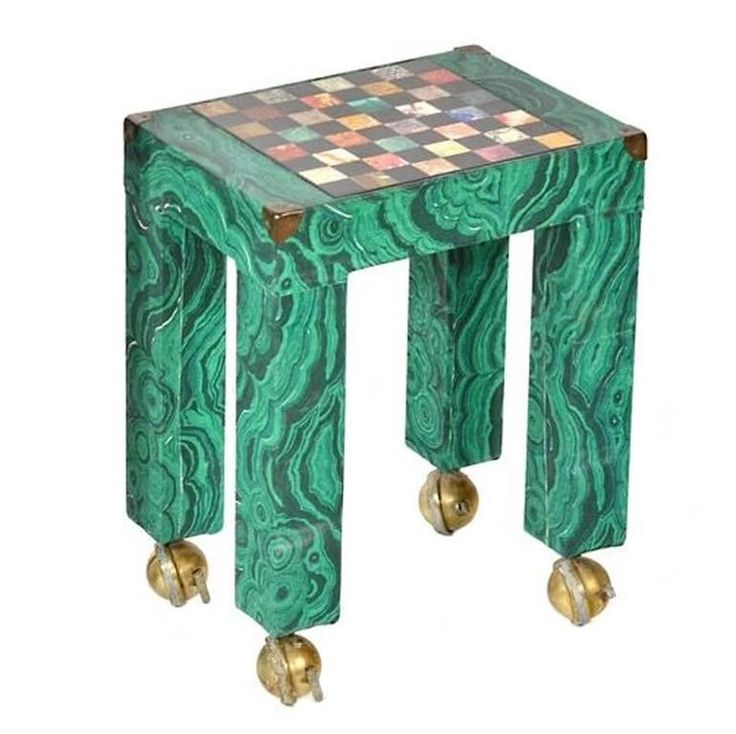 Italian Malachite Paper Covered Occasional Table with Inset Stone Game Board | From a unique collection of antique and modern game tables at https://www.1stdibs.com/furniture/tables/game-tables/