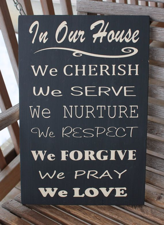 Christian Family Rules Subway Wood Sign by PreciousMiracles, $32.99