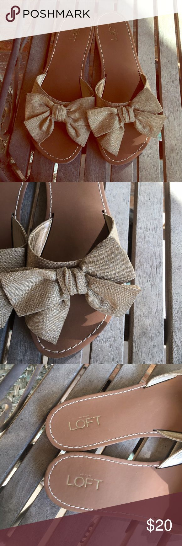 """Anne Taylor Loft Slide On Valencia Tan Bow Sandals Adorable! Anne Taylor Loft Valencia Slide On Tan Bow Sandals. Great condition! Textile upper. Rubber soles. Go with anything Sandals. Very comfy and versatile. Retro inspired. 1/2"""" heel. Ann Taylor Shoes Sandals"""