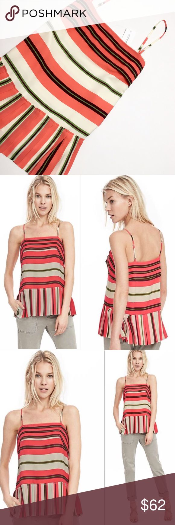 Banana Republic Multi-Stripe Pleated Cami Beautiful Banana Republic Multi-Stripe Pleated Cami.  🔹 100% Polyester  🔹DRY CLEAN 🔹 Imported 🔹 Adjustable Straps 🔹 Pleated Top & hem 🔹Hits at the low hip 🔹 Approx. measurements: will be posted soon.   🚫Please note: Model is wearing the exact same style Cami but slightly different colors, the model has beige on the stripes and the actual Cami I'm selling the stripes are white, not beige. 🚫Photo is only to show the style/look. Banana Republic…