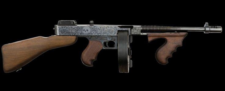 Thompson submachine gun painted graphics.