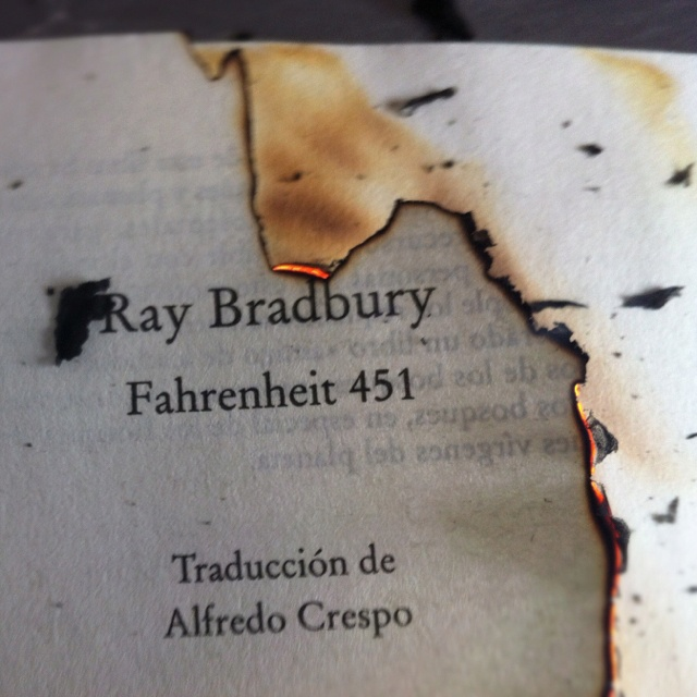 Fahrenheit 451 - was really impressed with this book. It was written way before it's time. 451 degrees fahrenheit = the temperature at which paper burns.