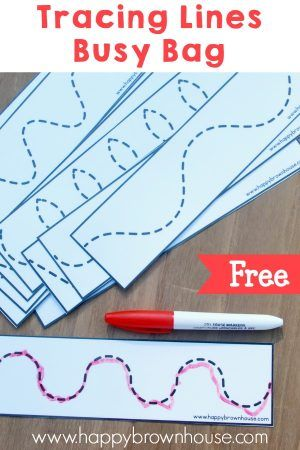 This free printable tracing lines busy bag for preschoolers is a great introduction to writing. Preschoolers will have fun tracing the lines and practicing their fine motor skills.