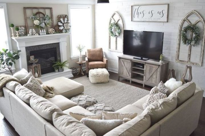 This Is Option For Furniture Placement In Our Weird Living Room Setup Furniture Placement Living Room Country Living Room Farmhouse Decor Living Room