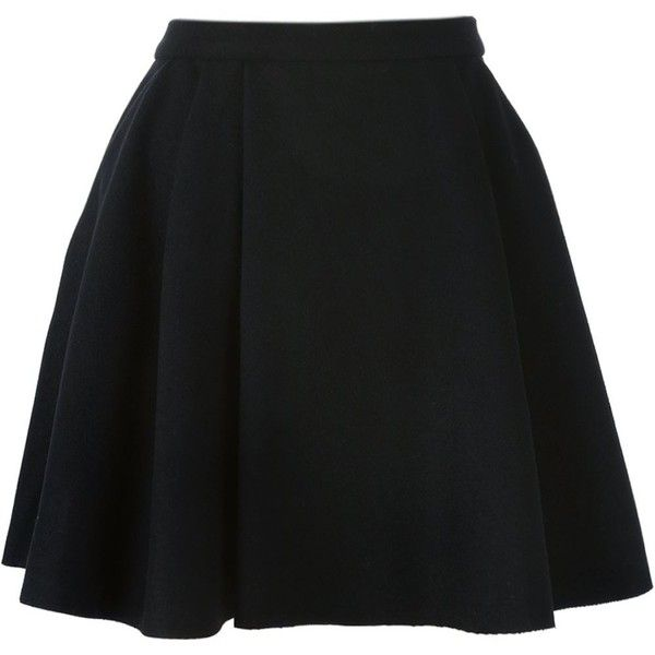 Avelon Pleated Skater Skirt ($356) ❤ liked on Polyvore featuring skirts, black, circle skirt, black knee length skirt, black flared skirt, flared skirt and black skirt
