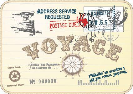 set vintage postcard stamps elements