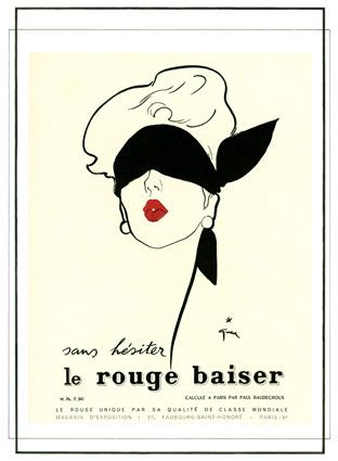 French Le Rouge Baiser Lipstick Cosmetic Poster