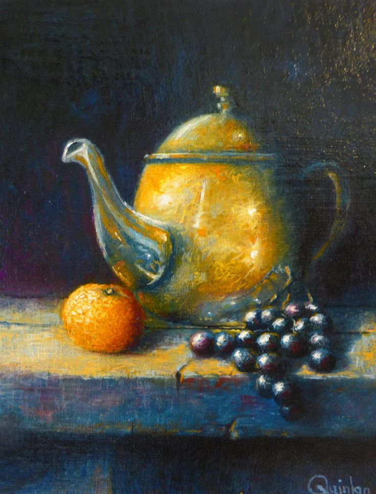 """Original oil painting - 10"""" x 8"""" """"Teapot and Fruit"""" An oil painting by Irish still life artist Chris Quinlan. An oil painting on linen panel of a copper teapot and fruit on an old wood table, completed Mar 27 2018."""