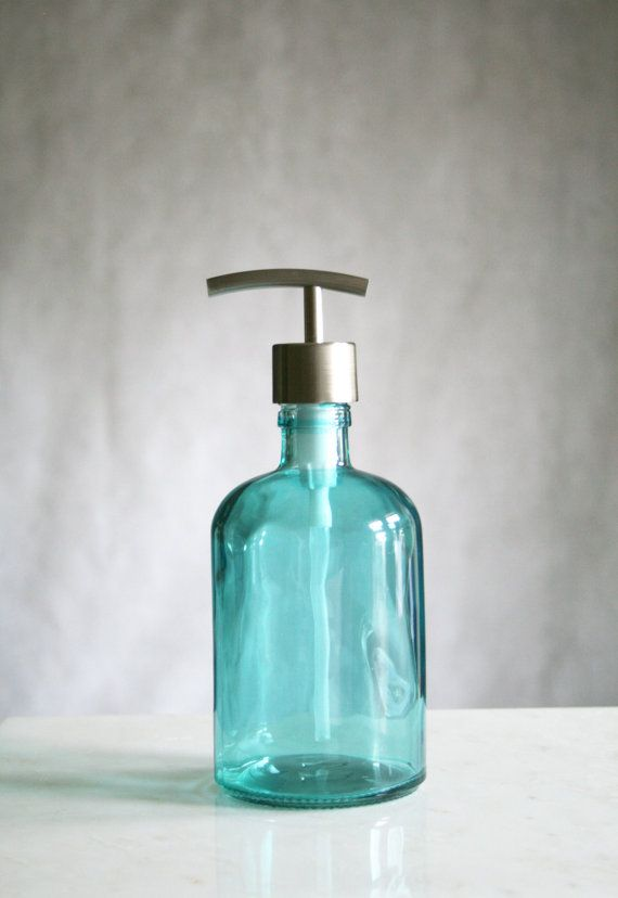 Recycled Glass Soap Dispenser  Baby Beach Blues by Rail19 on Etsy, $25.00