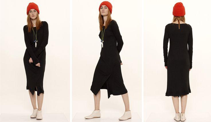 Dori Tomcsanyi long sleeve black shirt dress.  Available from September at the webshop. http://doritomcsanyi.com/