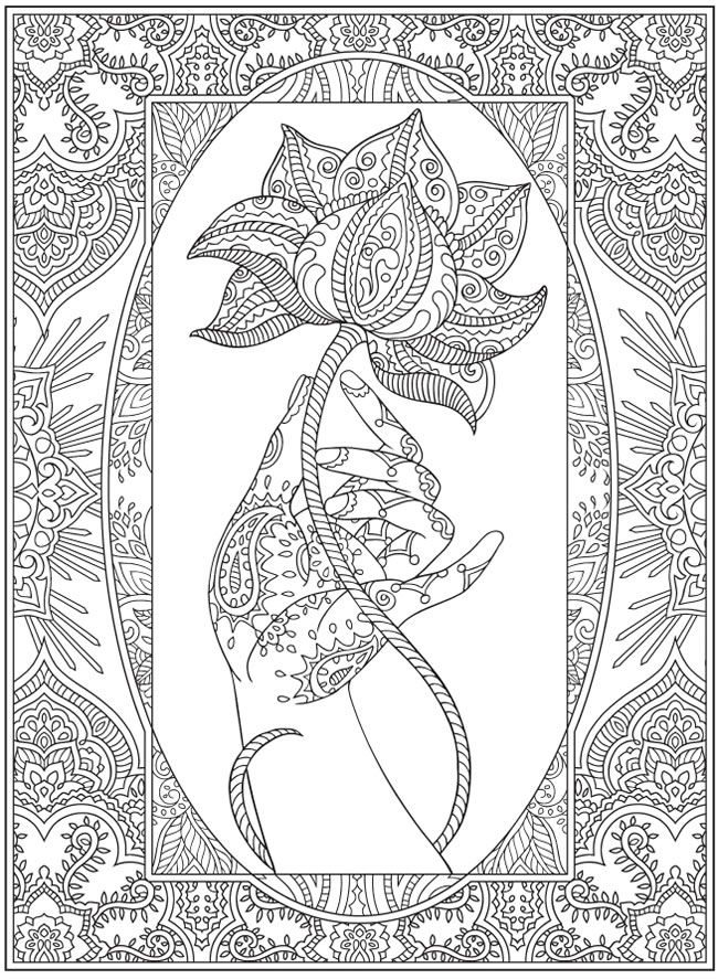 Mehndi Designs Coloring Book : Magnificent mehndi designs sample pages dover