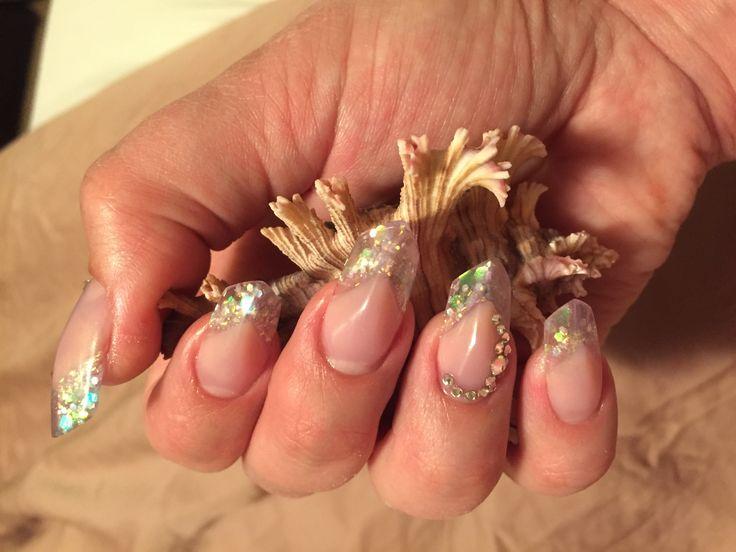 Nail art, edge nails, iridescent, sparkles, silver, see through, clear, rhinestones, spring fun.!