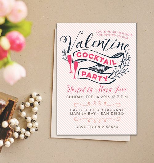 Printable Valentine Invitation, Valentine Cocktail Party Invitation, Instant download, Printable Valentines Day Invite, Valentines Day