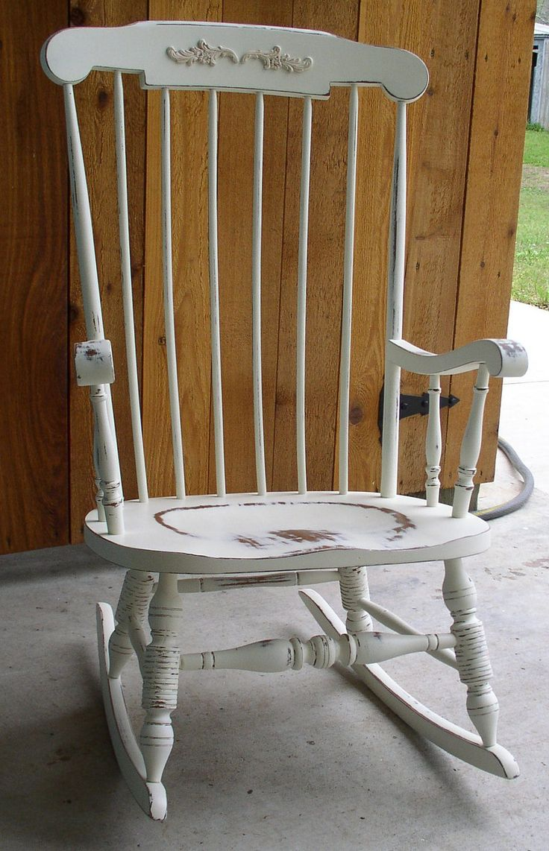 Shabby chic painted rocking chairs - White Shabby Rocking Chair