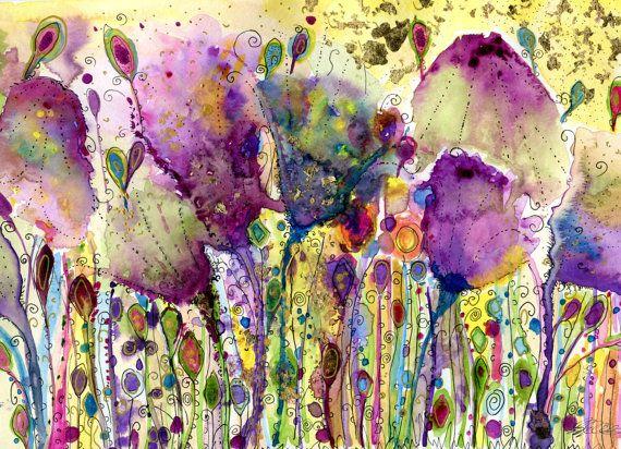Fine art print wild meadow flowers' watercolour by corkymandle