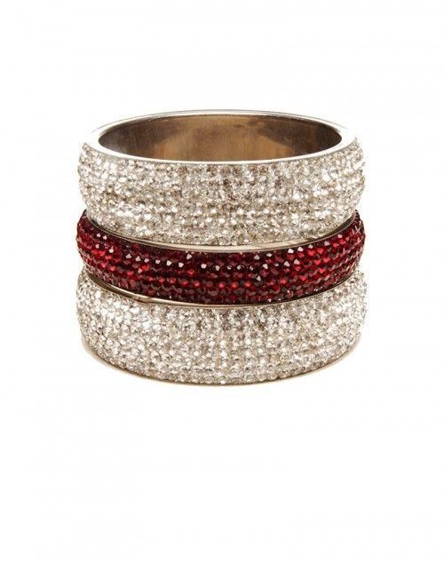 Wear to work or just because! Two wide White Diamond Aura bangles with one skinny Ruby Red Aura bangle. Three pieces. www.hamptonbanglecompany.com #bangle #jewelry #accessory #girl #sexy #fashion #stackable #bracelet  #imaginehappy