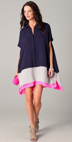 I know this is shapeless, but I love this DVF Hatsu dress. Swingy and cute. And the neon pink hem contrasted against the navy and gray? I die.