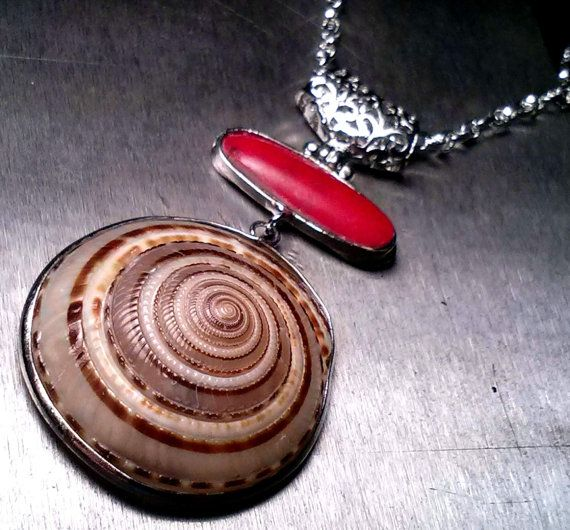 Earthy Genuine Mediterranean Red Coral and  Sundial Seashell Pendant Necklace FREE SHIPPING on Etsy, $22.00