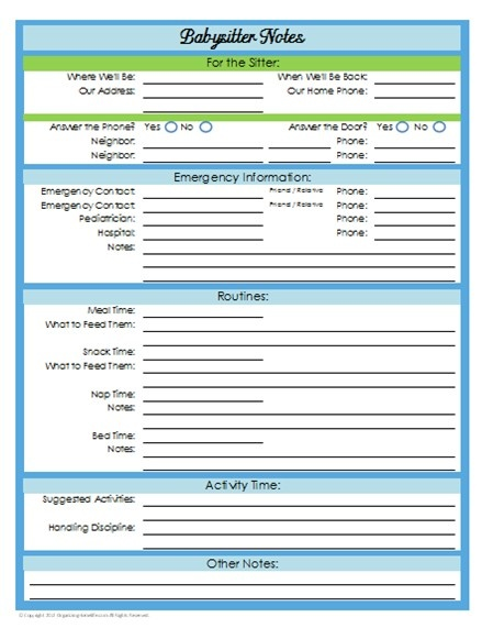 Baby sitter Notes | Printables (Free) | Pinterest | Bebe