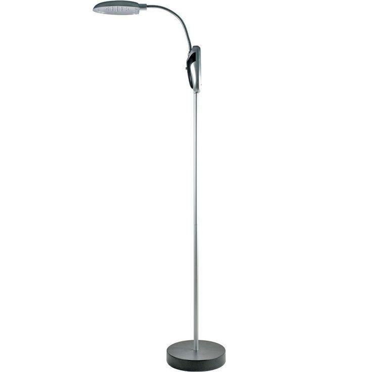Lavish Home 52 in. Silver LED Portable Cordless Lamp