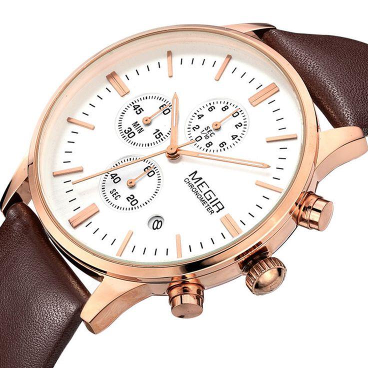 Fashion Brand MEGIR Luxury Men Casual Quartz Watch Leather Band Chrono – archiezpoint