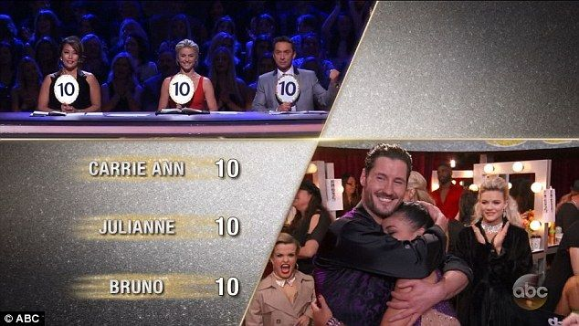 Perfect scores: Carrie Ann, Julianne and Bruno Tonioli gave Laurie and Val perfect scores