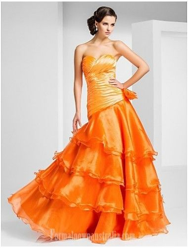 Prom Gowns Australia Formal Evening Dress Orange Plus Sizes Dresses Petite A-line Princess Strapless Sweetheart Long Floor-length Organza Formal Dress Australia