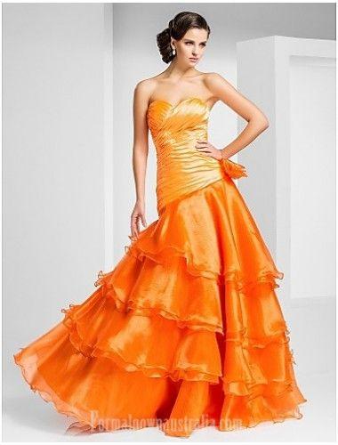 Prom Gowns Australia Formal Evening Dress Orange Plus Sizes Dresses Petite A-line Princess Strapless Sweetheart Long Floor-length Organza Formal Dress Australia